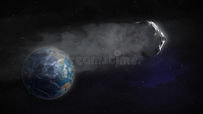 Comet flying by Earth stock illustration
