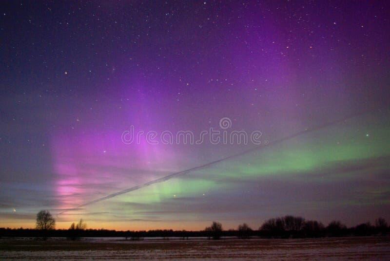 Comet Pan-Starrs C/2011 L4 and Aurora royalty free stock photos