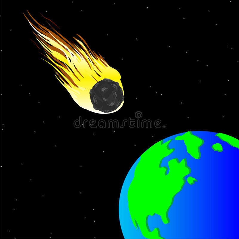 Comet and planet land stock illustration
