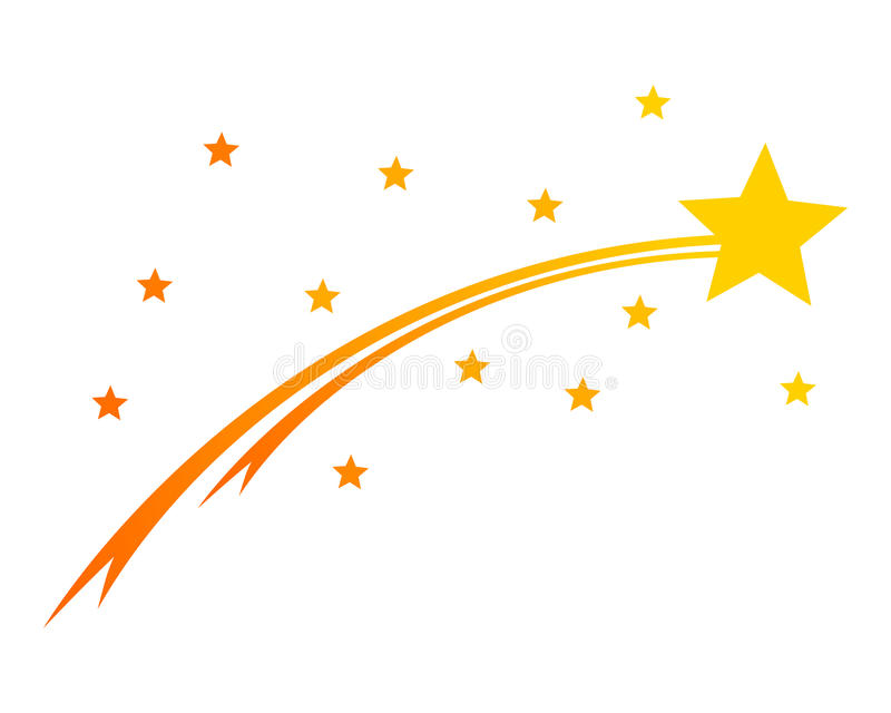 Comet and stars on white vector illustration