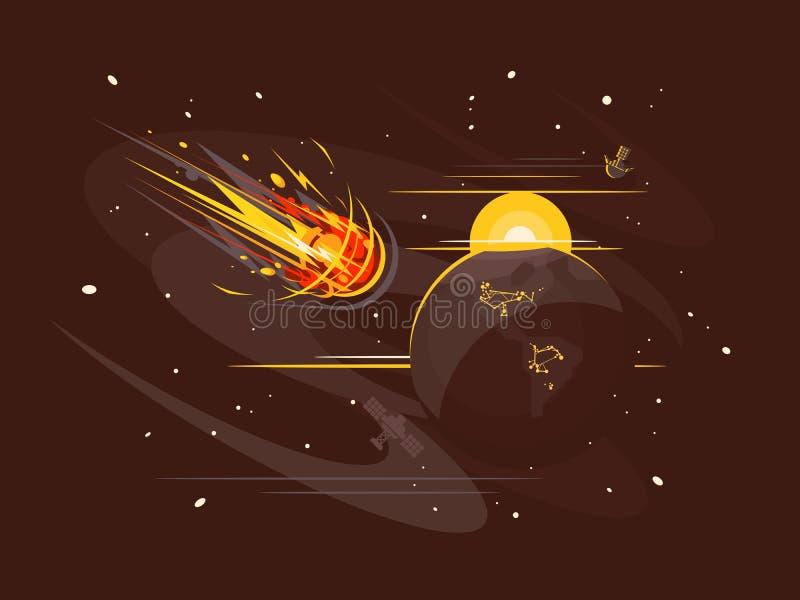 Cometa ardiente en espacio ilustración del vector