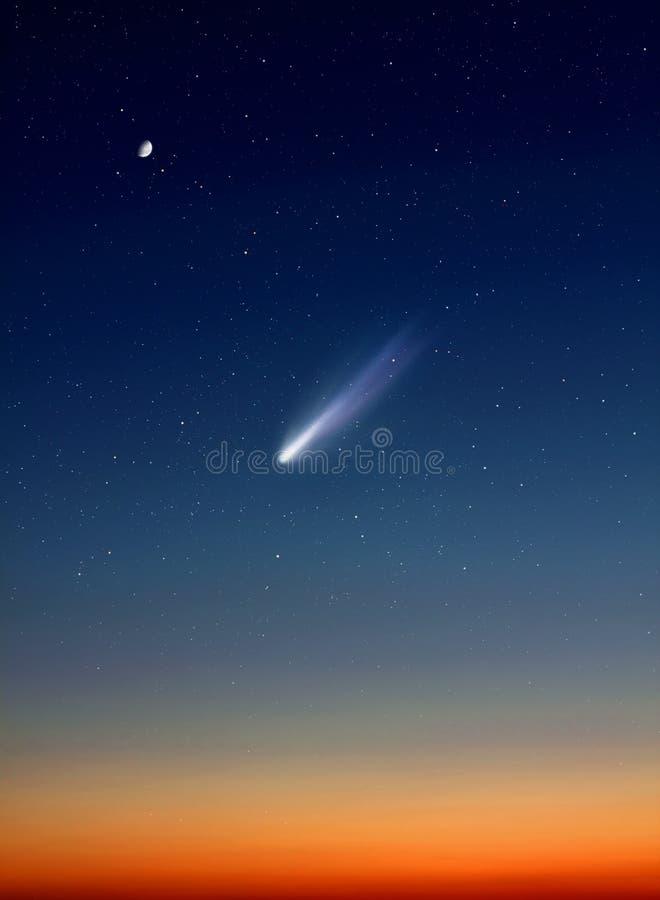 Cometa in cielo notturno immagini stock