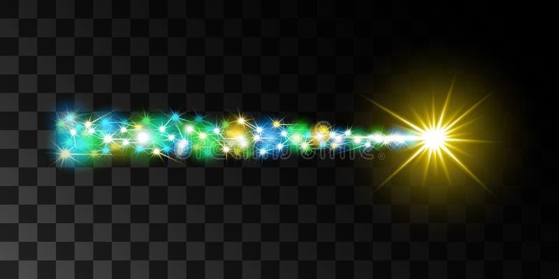 Cometa de hadas del vuelo con una cola luminosa stock de ilustración