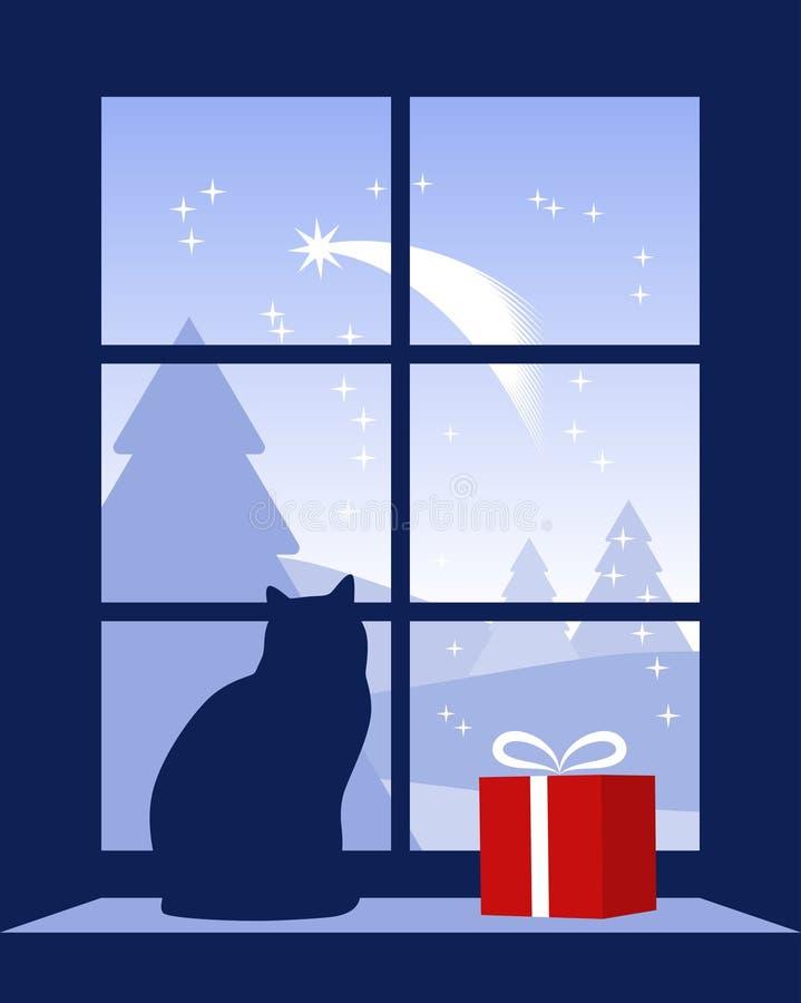 Cometa de la Navidad fuera de la ventana ilustración del vector