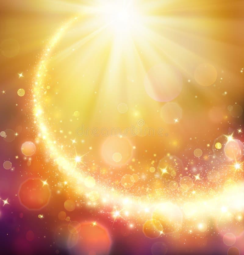 Cometa do Natal - estrela dourada que brilha ilustração royalty free