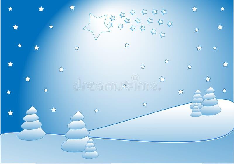 Cometa en paisaje del invierno stock de ilustración