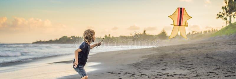 Cometa joven feliz del vuelo del muchacho en la playa en la BANDERA de la puesta del sol, FORMATO LARGO imagen de archivo libre de regalías