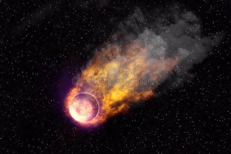 Cometa nel fondo dell'estratto dell'universo illustrazione di stock