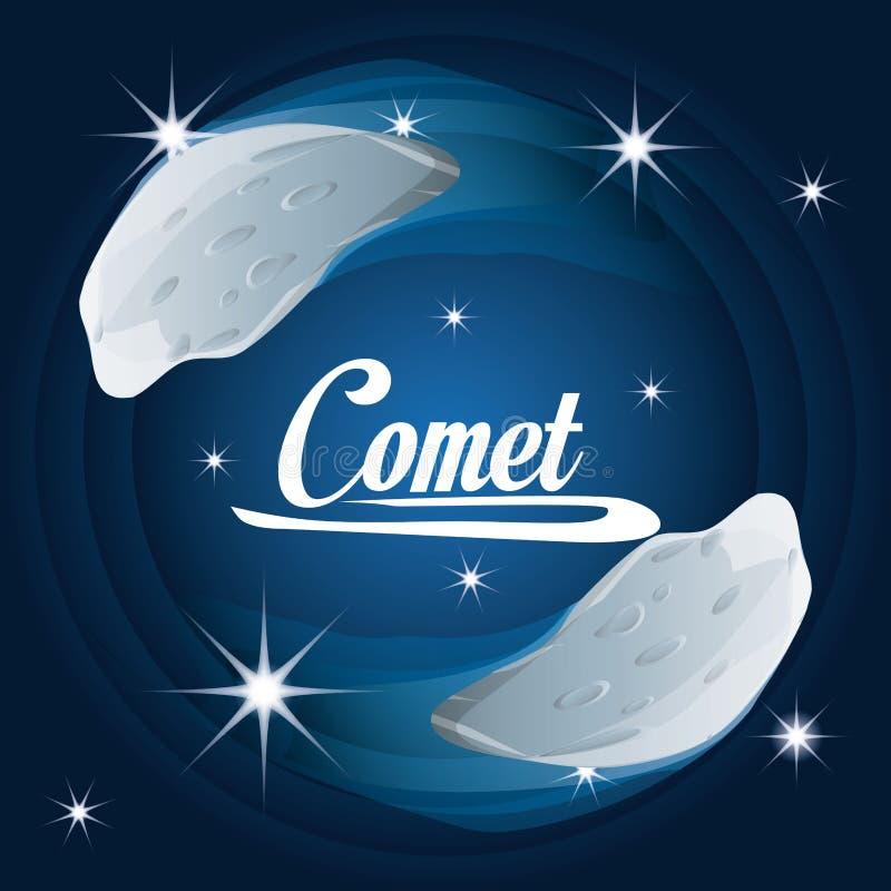 Cometa nella galassia delle nebulose nell'universo illustrazione vettoriale
