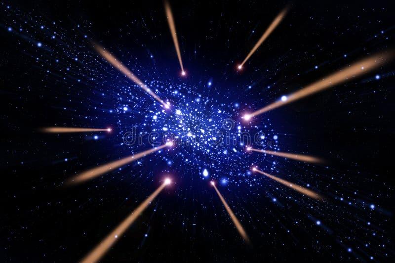 Cometa vermelho que voa à galáxia ilustração royalty free
