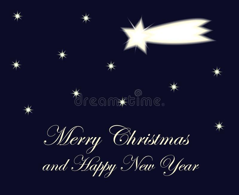 Cometa y estrellas de la tarjeta de Navidad en el cielo nocturno con feliz chri de la muestra stock de ilustración