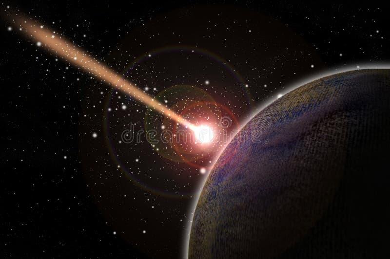 Cometa y planeta que caen ilustración del vector