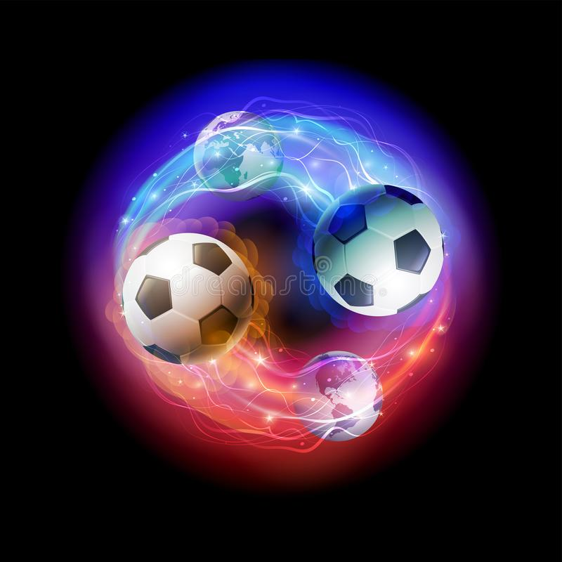 Cometas del balón de fútbol y globos del mundo en fondo negro del espacio stock de ilustración