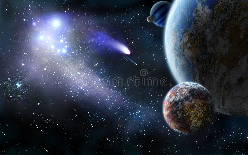 Comets attack from space royalty free illustration