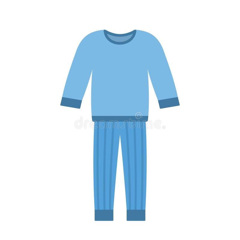 Comfort blauwe die pyjama's op witte achtergrond worden geïsoleerd stock illustratie