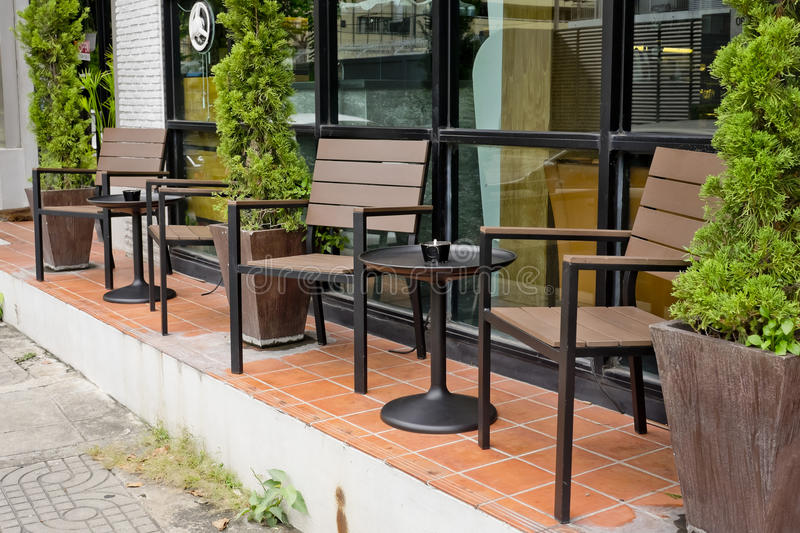 Comfort seating front of coffee shop stock images