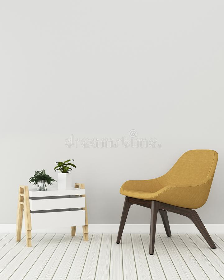 Comfort space in condominium empty room. Comfort space in condominium.empty room with chair and cabinet. modern interior design. -3d rendering vector illustration