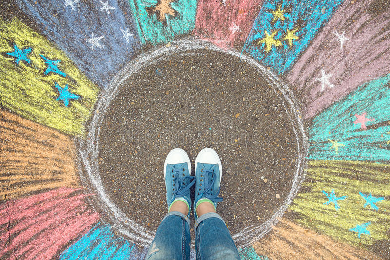 Comfort zone concept. Feet standing inside comfort zone circle. stock images