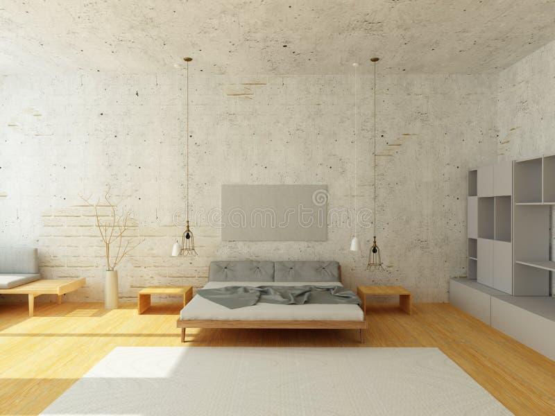 Comfortabel binnenland van slaapkamer in Skandinavische Stijl stock afbeelding