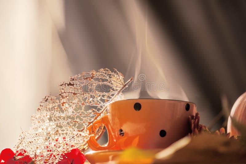 Comfortabel de herfststilleven Oranje kop met het stomen van drank en droge bladeren en bessen Kunstfoto De atmosfeer van een com royalty-vrije stock fotografie