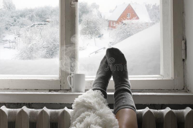 Comfortabel de winterstilleven stock foto