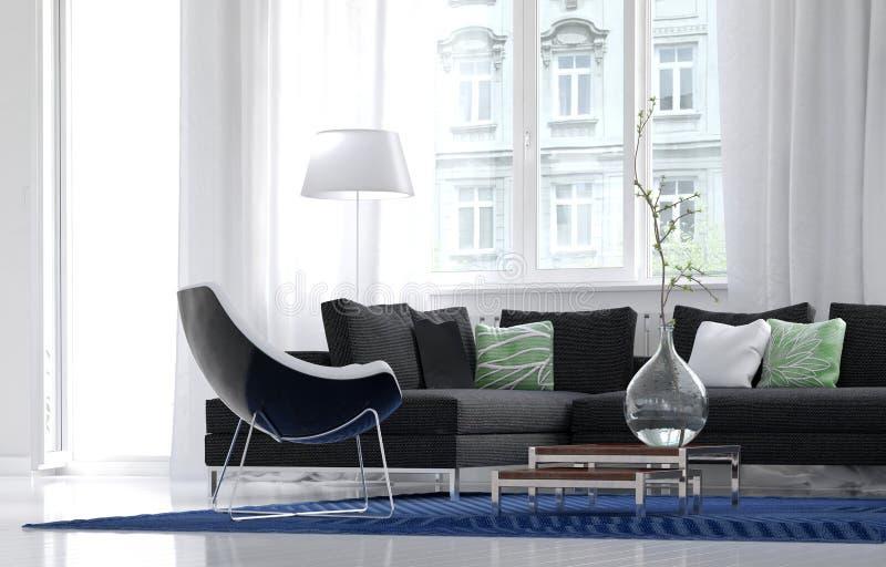 Comfortabel eenvoudig woonkamerbinnenland vector illustratie