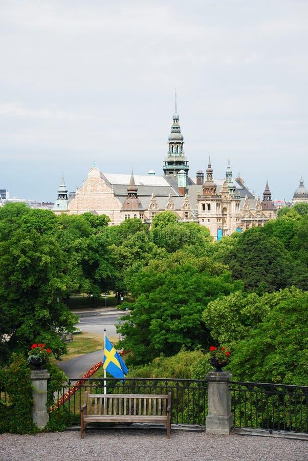Comfortabel hoekje van Scansen in Stockholm. stock afbeeldingen