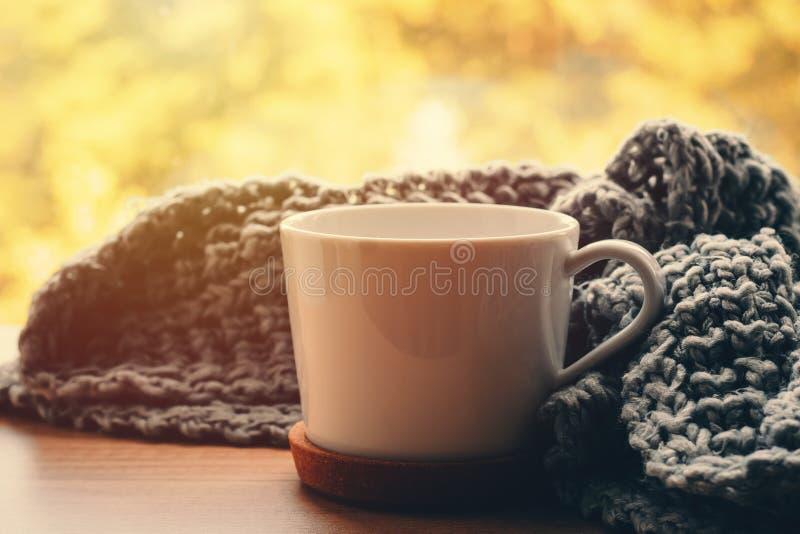 Comfortabel huis bij de herfstdag Wollen sjaal en kop thee op de vensterbank royalty-vrije stock foto's