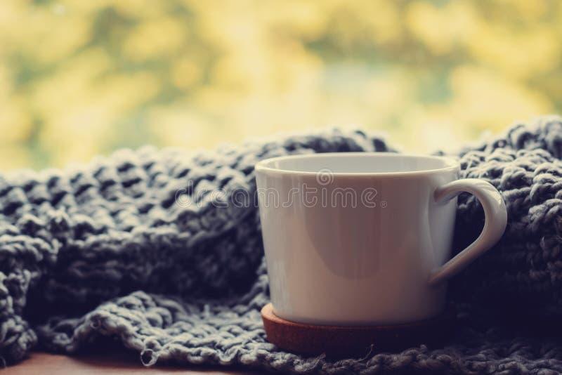 Comfortabel huis bij de herfstdag Wollen sjaal en kop thee op de vensterbank royalty-vrije stock afbeeldingen