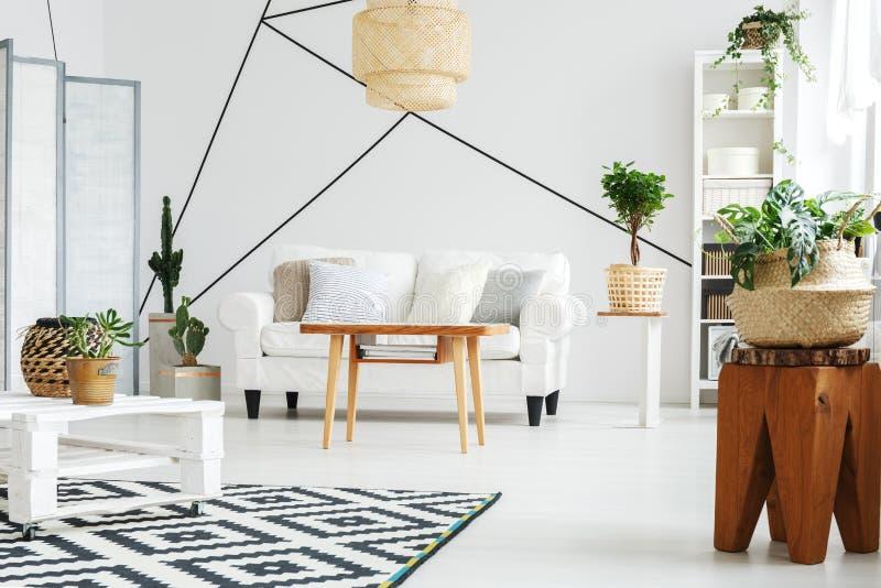 Comfortabel huis met zitkamer stock afbeelding