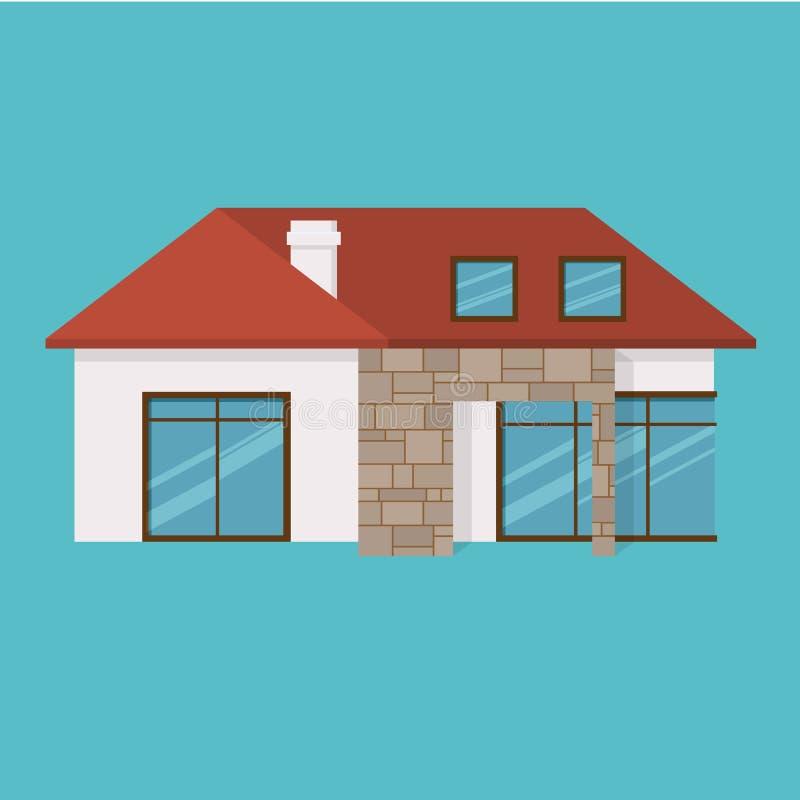 Comfortabel huis, voor gezamenlijke tijd, familierust, vakantie, het tuinieren, huishouden royalty-vrije illustratie