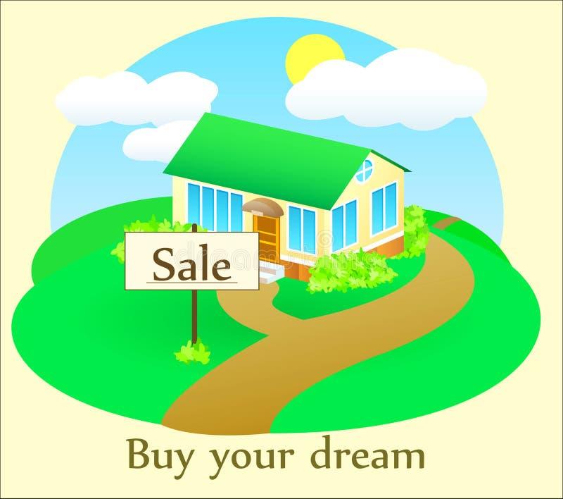 Comfortabel huis voor verkoop stock illustratie