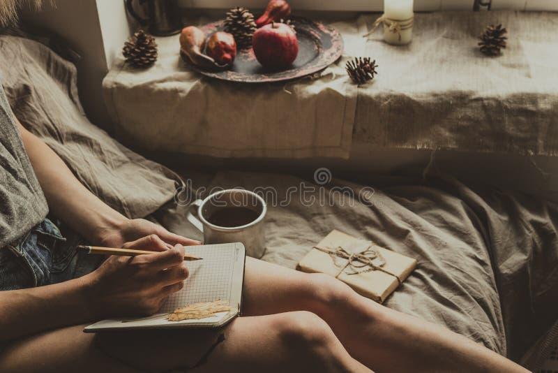 Comfortabel huis Vrouwenzitting door het venster en het schrijven in blocnote Selectieve nadruk royalty-vrije stock fotografie