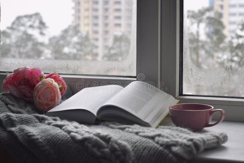 Comfortabel huisstilleven: kop van hete koffie, de lentebloemen en geopend boek met warme plaid op vensterbank tegen sneeuw stock foto
