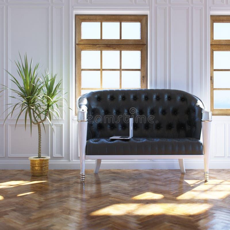 Comfortabel Licht Binnenlands Ontwerp met Uitstekende Leerbank stock foto
