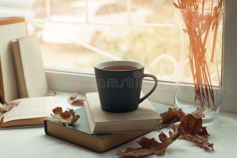 Comfortabel venster met de herfstbladeren, een boek, een mok thee, tijd te lezen, het concept van het de herfstweekend royalty-vrije stock foto's