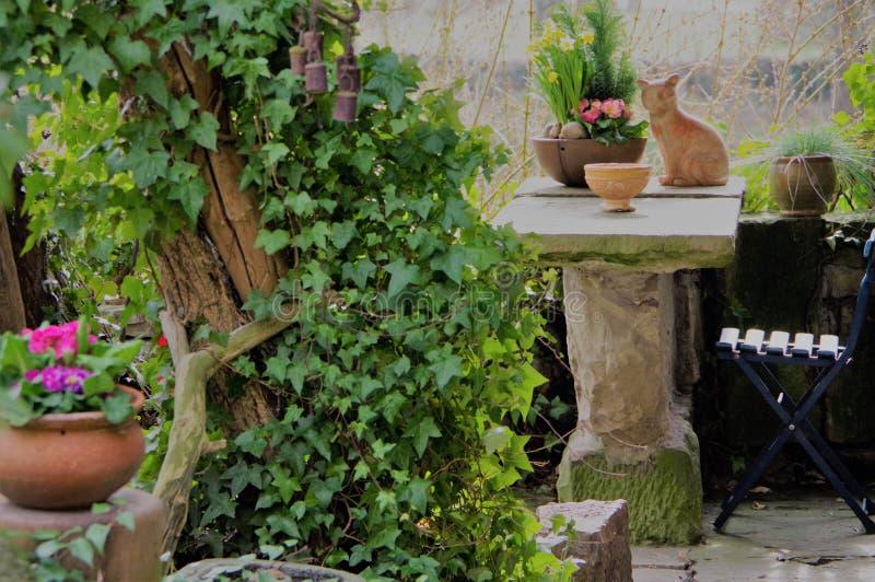 Comfortabel weinig tuin met zittingsgebied royalty-vrije stock fotografie