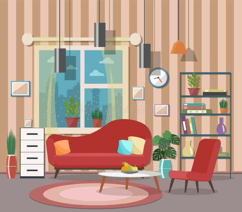Comfortabel woonkamerbinnenland met meubilair en open haard Vlakke des vector illustratie