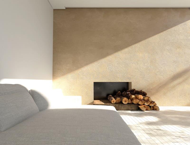 Comfortabele bank in een zonnige minimalistische woonkamer royalty-vrije illustratie