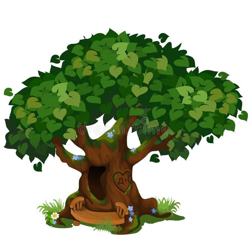 Comfortabele boshut in de oude die boom op witte achtergrond wordt geïsoleerd De fabelachtige boom in het Park Het modelleren en  stock illustratie