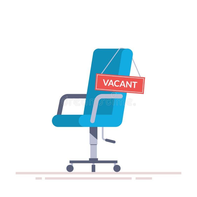 Comfortabele bureaustoel met een vacatureteken Zaken die en abstract concept huren aanwerven Zoek naar een nieuwe werknemer vector illustratie