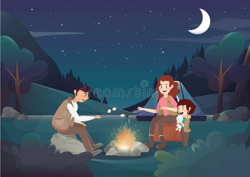 Comfortabele familie die in de nachtillustratie kamperen royalty-vrije illustratie