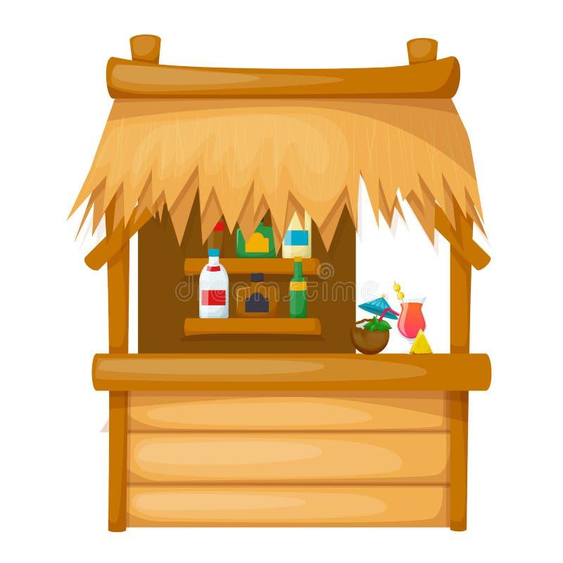 Comfortabele houten woning op het strand, met stro bedekkenen-dakbungalow royalty-vrije illustratie
