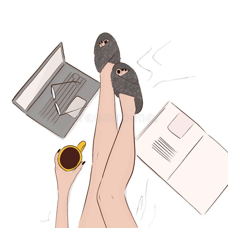 Comfortabele huisillustratie Modelbenen in bed met koffie, computer, tijdschrift en faux bontpantoffels Ontspant de vrouwenhand g stock illustratie
