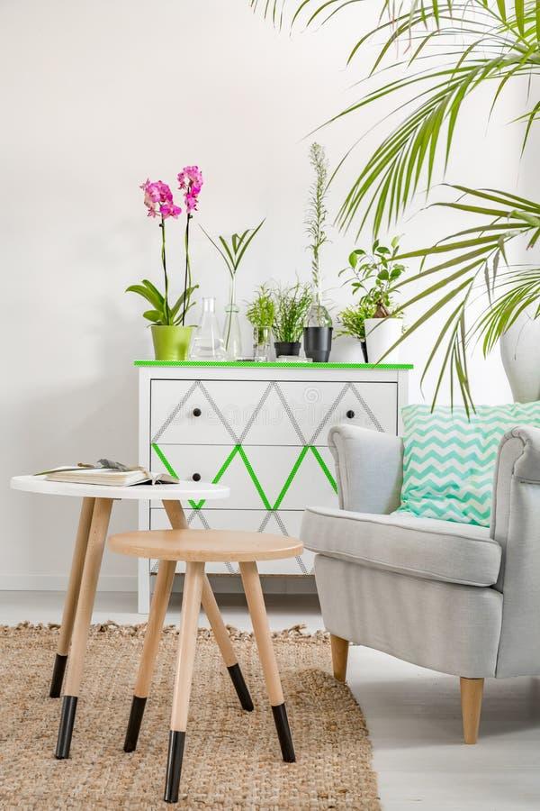 Comfortabele leunstoel, ladenkast en houten koffietafel stock afbeelding