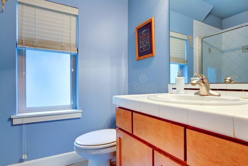 Comfortabele lichtblauwe badkamers stock foto