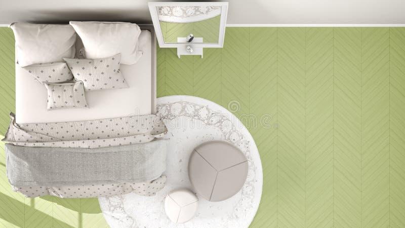 Comfortabele moderne citroen groene en beige slaapkamer met houten parketvloer, tapijt met poef en bed met deken en hoofdkussens, vector illustratie