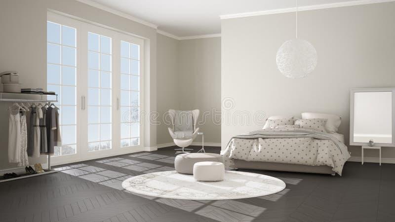 Comfortabele moderne grijze en beige slaapkamer met houten parketvloer, panoramisch venster op de winterlandschap, tapijt, leunst royalty-vrije illustratie