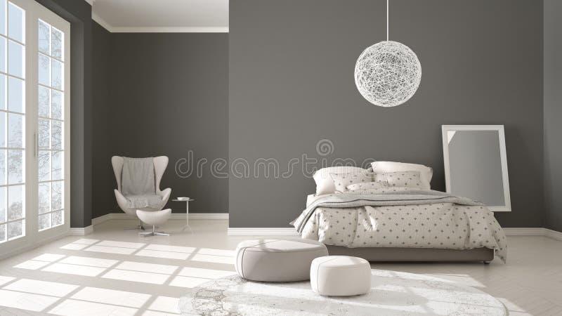 Comfortabele moderne grijze en beige slaapkamer met houten parketvloer, panoramisch venster op de winterlandschap, tapijt, leunst vector illustratie