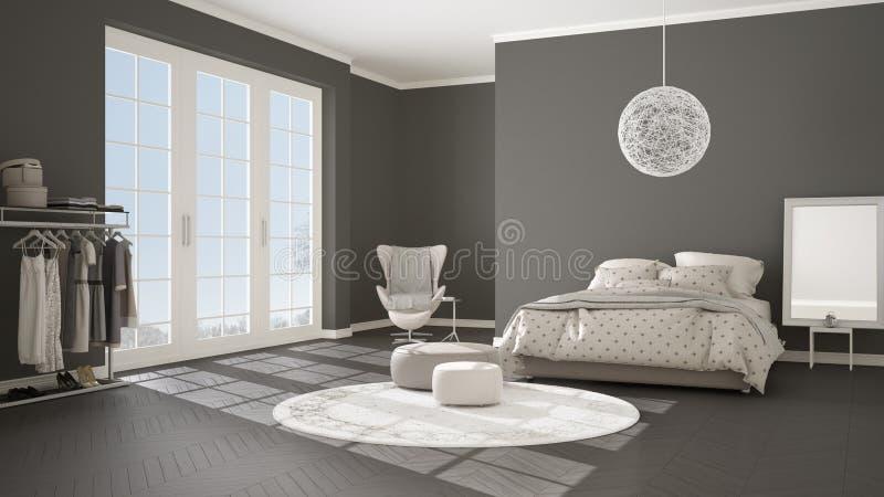 Comfortabele moderne grijze en beige slaapkamer met houten parketvloer, panoramisch venster op de winterlandschap, tapijt, leunst stock illustratie